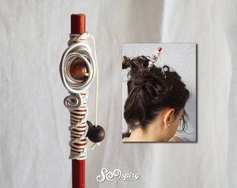 Hair stick, wooden hairpin, red hairpin, red and white hairstick,wood hairstick,ethnic style hair accessories,hair accessories,stone hairpin