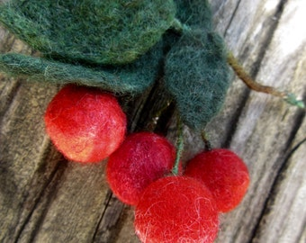 Red cherry brooch, Needle Felted Fruits,Handmade,beautiful needle felted brooch,red black summer Needle felted Brooch