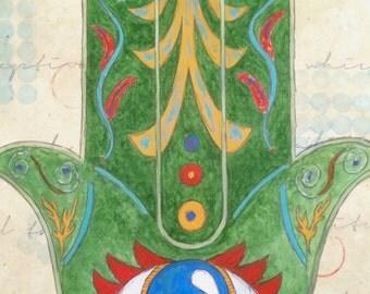 SALE! Hand of Fatima Mixed Media Painting Hamsa Original Art