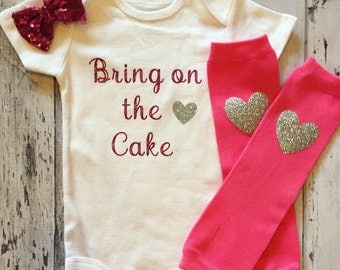 Cake Smash Bodysuit, Bring On The Cake, 1st Birthday Bodysuit, First Birthday Shirt, Baby Girl, Baby Bodysuit, Birthday Outfit, Photo Prop