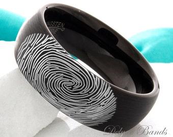 Tungsten Wedding Ring Fingerprint Ring Mens Womens promise Ring Custom Made Fingerprint Ring Anniversay Ring  Black Dome Comfort Fit 8mm