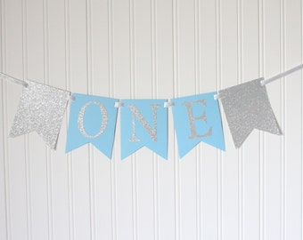 Silver & Blue ONE High Chair Banner Happy Birthday Banner/ Boy Birthday/ Prince Party/ Child Birthday/ Party Decorations/ 1st birthday