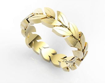 Leaves ring Wedding ring ,wedding band, 14K yellow gold ring,Anniversary ring, Leaf ring