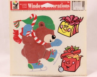 Vintage Color Clings Christmas Bear. Reusable Window Clings. 1 Sheet