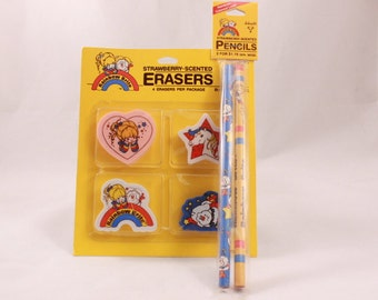 1983 Rainbow Brite Strawberry Scented Erasers and Pencils. Hallmark New and Sealed!