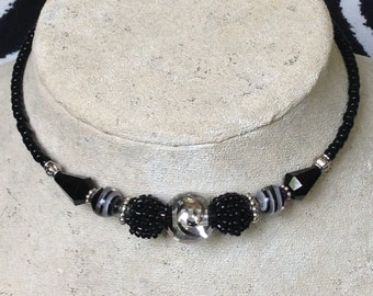 Memory Wire Wrap Necklace, Choker, Black and Silver