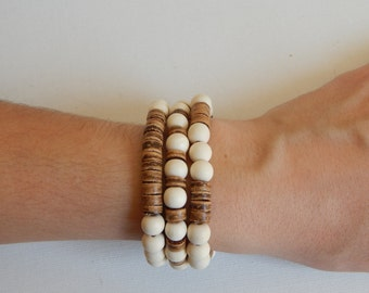SALE White wood stretch bracelets with brown coconut wood, bracelet set, beach chic, neutral, summer fashion, boho chic, organic jewelry