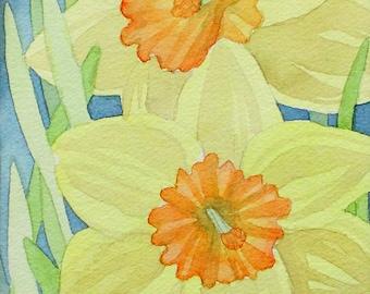 """Daffodil Duo, Original Watercolor Painting, 5""""X7"""""""