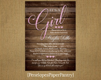 Rustic Baby Girl Shower Invitation,Cursive Girl Pink Glitter Print,Pink Glitter Print Hearts,Book Poem,Customizable.White Envelopes