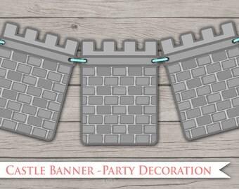 Castle Party Banner - Printable PDF diy Wall Decor Princess Knight Dragon Medieval Pretend Play Basic Castle Wall Play Fairytale Masquerade