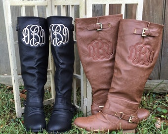 Monogrammed Womens riding boots