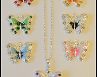 Butterfly necklace, Rhinestone and enamel butterfly charm necklace, Insects, handmade butterfly necklace, charm necklace, butterfly charm