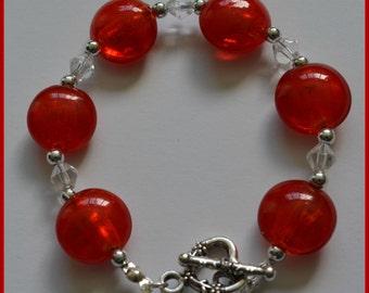 Red bracelet, Red lentil bead bracelet, Handmade bracelet, crystal beads,
