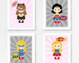 Girls Superhero Prints, Superhero Nursery Wall Art for Girls, Pink Superhero Nursery, Girls Superhero Decor, Tomboy Superhero Playroom Decor