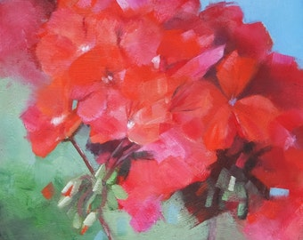 Original Small Oil painting of red geranium, floral painting