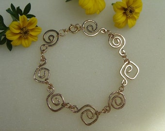 Gold Bracelet with spirals, ethnic style in 585 gold filled