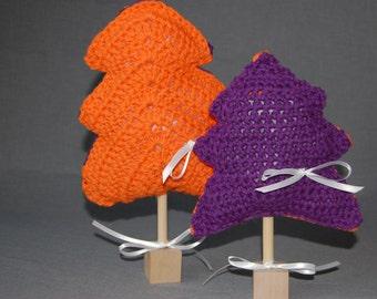 Clemson Christmas trees ~ Set of two ~ Crochet