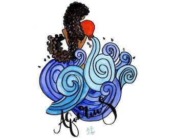 Curly Aquarius Zodiac Watercolor Art Print   Astrology Art   Zodiac Art   Wall Art   Home Decor   Nursery Decor   8x10   11x14   13x19