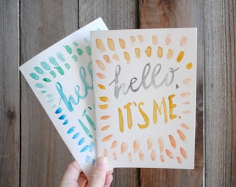 """Hello Cards [Set of 4] - 5""""x7"""" Handpainted Cards"""