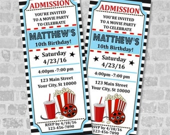 Beautiful Movie Ticket Birthday Party Invitation, Custom Vintage Style Movie Ticket  Party Invites, Movie Ticket Ideas Party Ticket Invitations