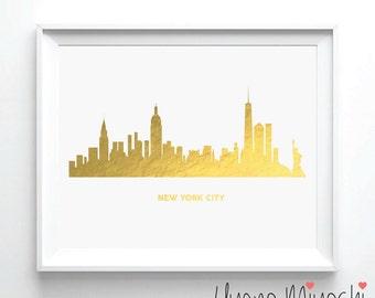 New York City Skyline I Gold Foil Print, Gold Print, Map Custom Print in Gold, Illustration Art Print, NYC Skyline Gold Foil Art Print