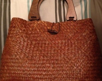 SUMMER CLEARANCE  Vintage St. John's Bay Straw Shopper Tote Bag with Wooden Handles and Striped Lining