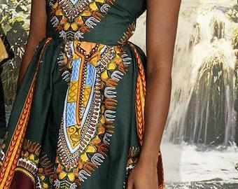 African Print Angelina   Traditional Dashiki Dress