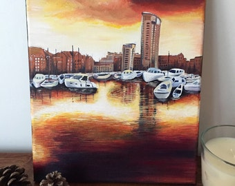Marina reflections, original acrylic painting. Free UK delivery.