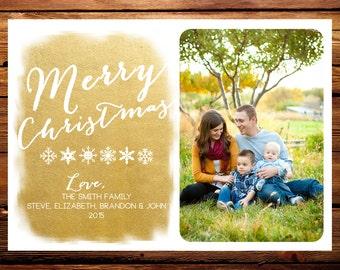 Holiday Photo Card, Custom Family Christmas Photo Card // Gold Foil Script