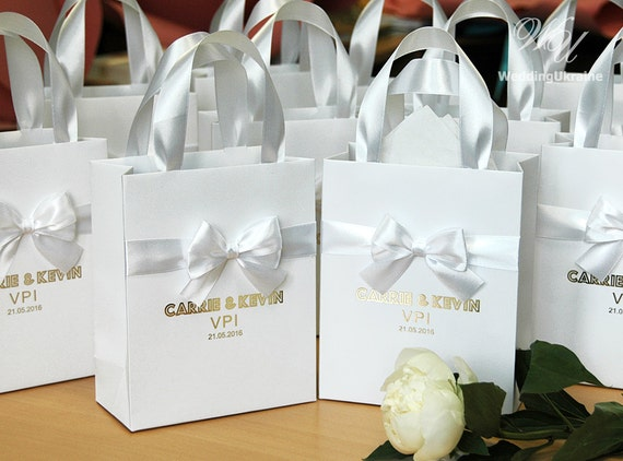 Personalised Wedding Gift Ribbon : 70 Luxury Wedding Gift Bags with satin ribbon, bow and Gold foil names ...