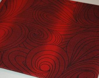 Vintage Jinny Beyer Cotton Fabric Yardage, Red Swirls   (#246)