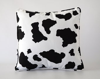 black pillow.black white pillow cover.cow pillow.cow pillow cover.decorative pillow.throw pillow.cushion.cow spot pillow