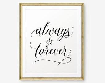 SALE Always & Forever, Wedding Art, Love Art, Wedding gift, wedding quote, black gold wedding art