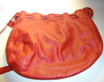 Leather Shoulder Bag, Red, Vintage