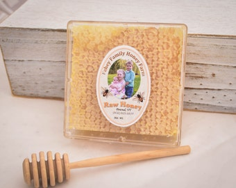 "raw Vermont wildflower comb honey, honey comb, raw honey, unpasteurized honey, wildflower honey, 3"" x 3"" comb, all natural honey"