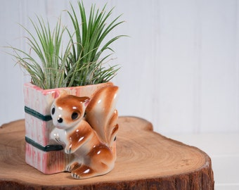 Vintage Mini Brown Squirrel Ceramic Pink and Green Planter, Air Plant Container, Succulent Container, Made in Japan