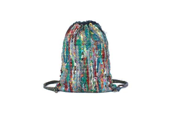 stripy upcycling gym bag