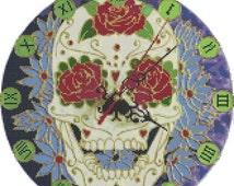 "ON SALE Counted Cross Stitch Pattern chart pdf file - sugar skull clock - 11.79"" x 11.86"" - L740"