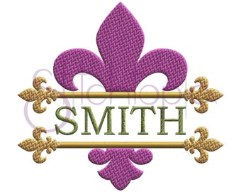 Fleur de Lis Split Embroidery Frame - 7 Sizes 10 Formats PES Mardi Gras Machine Embroidery Design Embroidery Frame - Instant Download Files