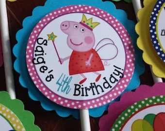 Made For You - Peppa Pig Cupcake Toppers (set of 12)