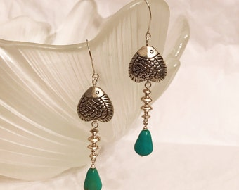 Tibetan Silver Fish earrings handmade with turquoise and sterling silver beads