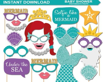 INSTANT DOWNLOAD-Mermaid Photobooth Props Printable Pack -A complete photobooth printable