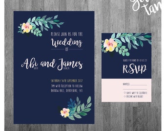 A5 Floral Personalised Wedding Invitation and RSVP Stationary