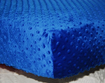 Royal Blue Minky Dimple Dot Fitted Crib Sheet, Toddler Bed Sheet