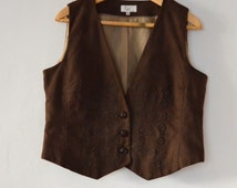 Brown Women's Waistcoat Embroidered Rocky Clothing Western Vest Medium Size