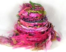 Pink Orchid Elements Textile Fiber Bundle 26yds Mixed Media Collage Embellishment Trim, Fuchsia Hot Pink Spring Green, Buy Any 6 Get 1 Free