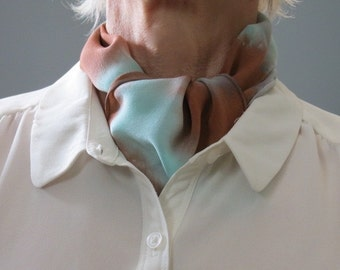 Small silk scarf, chocolate brown and seafoam, hand dyed