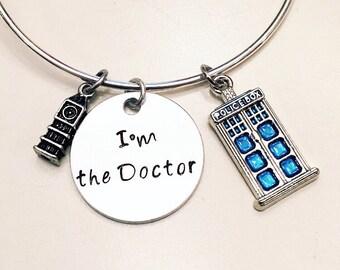 I'm the Doctor Ninth Doctor Big Ben Doctor Who TARDIS Adjustable Bangle Charm Bracelet