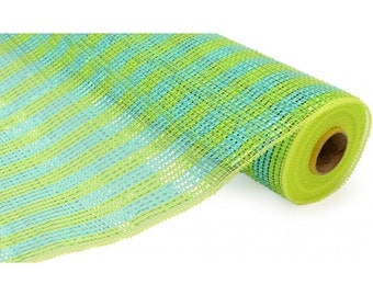 """Sale-21""""x 10 yds Poly Deco Mesh: Deluxe Wide Foil Lime/Turquoise Stripe/RE1063JH"""