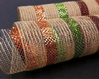 "10""x 10 yds Natural Burlap Mesh with Bold Fall Metallic Stripes/burlap Mesh Supplies/XB96510-29"